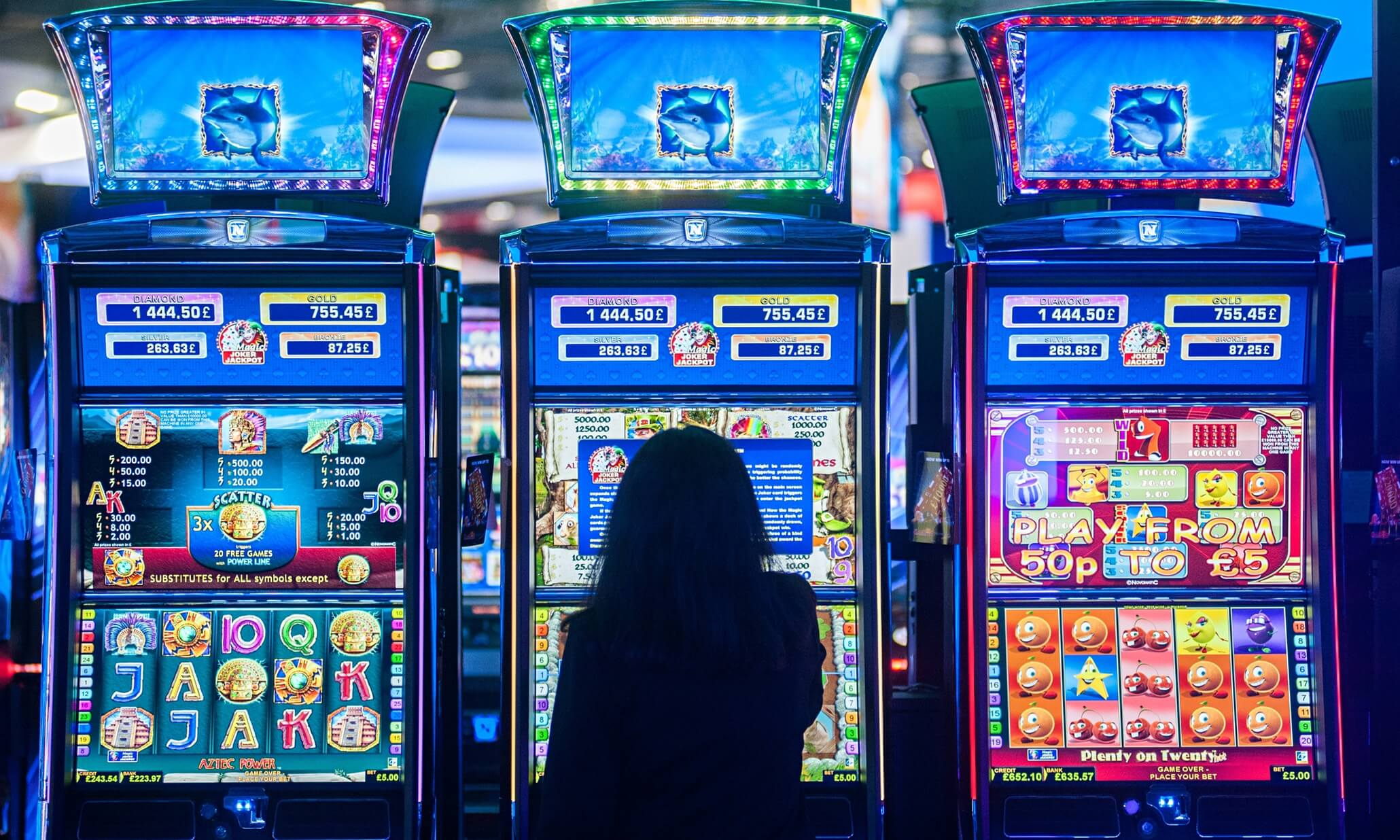 woman playing at slots